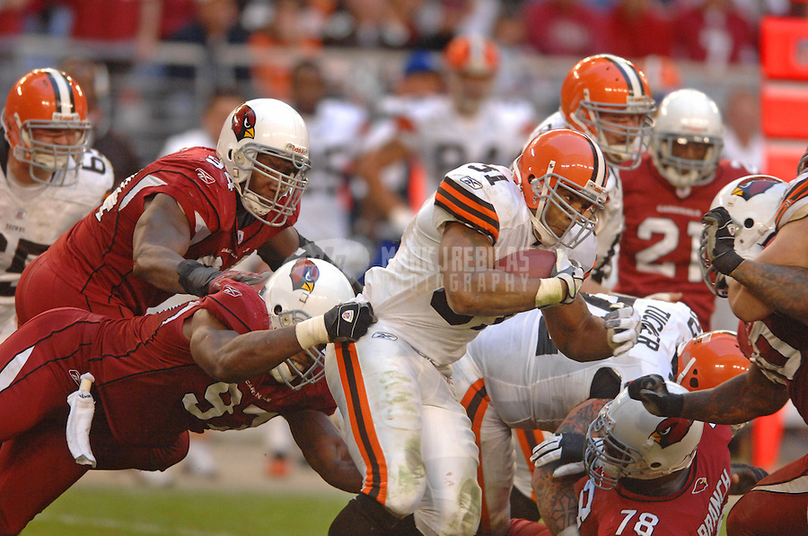Dec. 2, 2007; Glendale, AZ, USA; Cleveland Browns running back Jamal Lewis (31) runs the ball against the Arizona Cardinals at University of Phoenix Stadium. Arizona defeated Cleveland 27-21. Mandatory Credit: Mark J. Rebilas-US PRESSWIRE