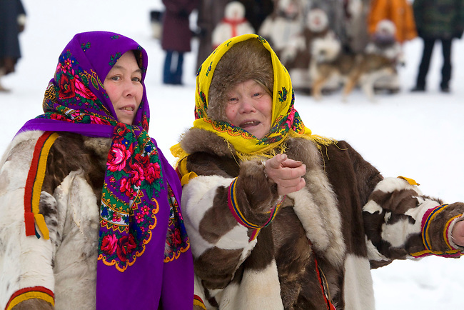 Khanty women in traditional dress at a Spring festival in the village of Pitlyar. Yamal, Western Siberia, Russia