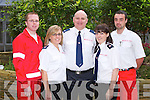 RED CROSS: Member's of the Kerry Irish Red Cross who hosted the .Transforming EMS in Ireland seminar at the Carlton hotel, Tralee on .Saturday l-r: David Heaslip, Christine O'Callaghan, DJ O'Callaghan, Niamh .Sheehan and James McDonnell.