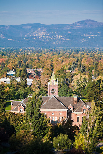Main Hall and fall color in the Missoula valley