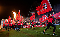 Crusaders flags run out before the 2018 Super Rugby final between the Crusaders and Lions at AMI Stadium in Christchurch, New Zealand on Sunday, 29 July 2018. Photo: Joe Johnson / lintottphoto.co.nz