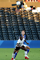 30th July 2020; Craven Cottage, London, England; English Championship Football Playoff Semi Final Second Leg, Fulham versus Cardiff City; Neeskens Kebano of Fulham competes for a high ball with Will Vaulks of Cardiff City