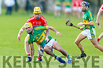 Lixnaw's Raymond Galvin in possession as Charleville's Cathal Carroll puts him under pressure in the Munster Intermediate Club hurling semi final in Lixnaw on Saturday.