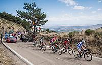 the breakaway group with Polka Dot Jersey / KOM leader Geoffrey Bouchard (FRA/AG2R La Mondiale) up the Puerto de la Morcuera<br /> <br /> Stage 18: Colmenar Viejo to Becerril de la Sierra (178km)<br /> La Vuelta 2019<br /> <br /> ©kramon