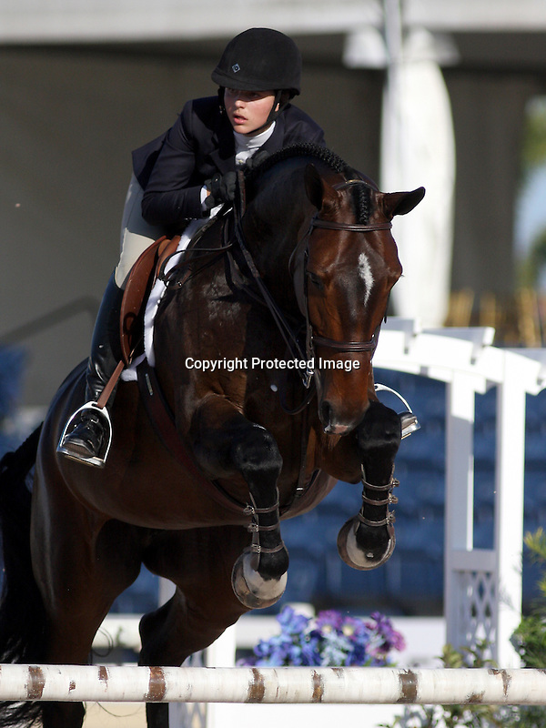 WELLINGTON, Fla., Mar. 13 - Victoria Birdsall, of Topsfield, Mass. on Cheyenne, placed second in the George H. Morris Excellence in Equitation Friday at the Palm Beach International Equestrian Center...Jessica Springsteen rode Papillon 136 to win the show, held before the entire 2008 USA Olympic gold medal team that judged the event...A crowd estimated at about 1,000 spectators and another 1,000 on a live Internet telecast watched the junior riders who qualified throughout the FTI Winter Equestrian Festival for the second annual competition named for the captain of Team USA jumping and who has written his own best selling author on equitation...Jessica Springsteen of Colt's Neck, N.J. and the gelding on which she also won the 2008 Maclay Championship led from the first of two rounds of the George Morris title and triumphed in the Final Four rideoff...Taylor Marie Harris of Grant's Pass, Ore. on Sundance was third, and Schaefer Raposa of Wellington, Fla. and Radscha A.W. rounded out the Final Four...Photo by Bob Markey II