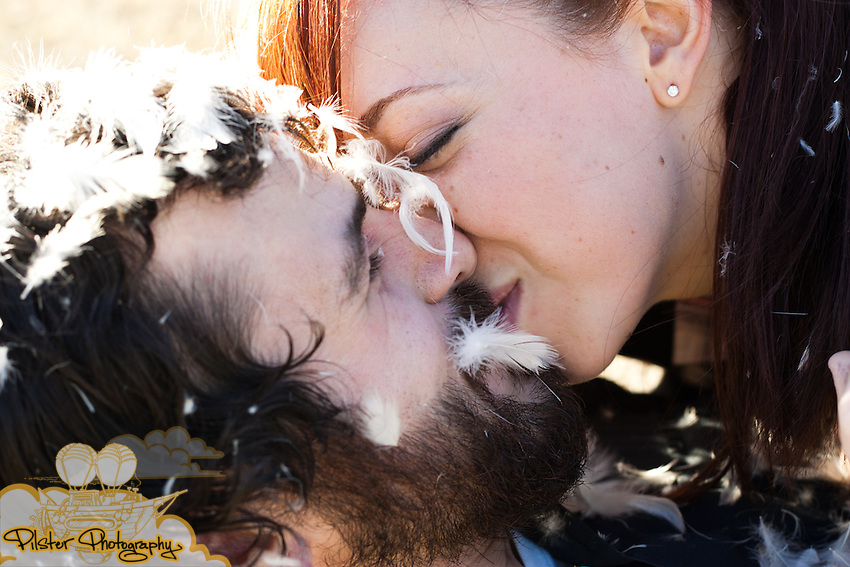The engagement session of Nina Ritt and Patrick Cleary on Saturday, January 8, 2011, at Gemini Springs in DeBary, Florida. This included their dog Bruiser, a pillow fight and an arcade machine. (Chad Pilster, PilsterPhotography.net)