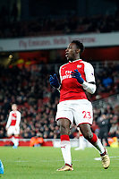 Danny Welbeck of Arsenal just fails to reach the pass during the Premier League match between Arsenal and Huddersfield Town at the Emirates Stadium, London, England on 29 November 2017. Photo by Carlton Myrie / PRiME Media Images.