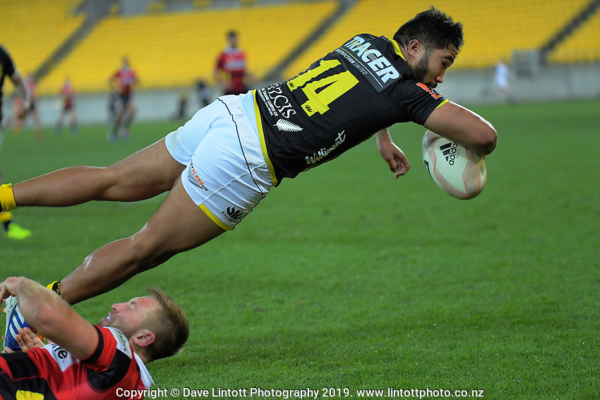 Vince Aso scores during the Mitre 10 Cup rugby match between Wellington Lions and Canterbury at Westpac Stadium in Wellington, New Zealand on Friday, 23 August 2019. Photo: Dave Lintott / lintottphoto.co.nz