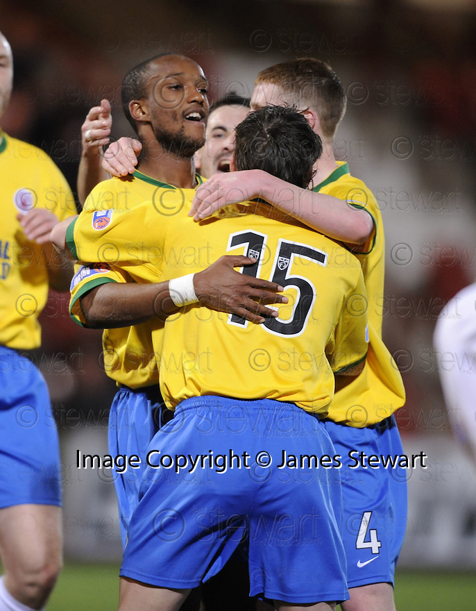 11/03/2008    Copyright Pic: James Stewart.File Name : sct_jspa06_dunfermline_v_hamilton.RICHARD OFFIONG IS CONGRATULATED  AFTER HE SCORES HAMILTON'S FIRST.James Stewart Photo Agency 19 Carronlea Drive, Falkirk. FK2 8DN      Vat Reg No. 607 6932 25.Studio      : +44 (0)1324 611191 .Mobile      : +44 (0)7721 416997.E-mail  :  jim@jspa.co.uk.If you require further information then contact Jim Stewart on any of the numbers above........