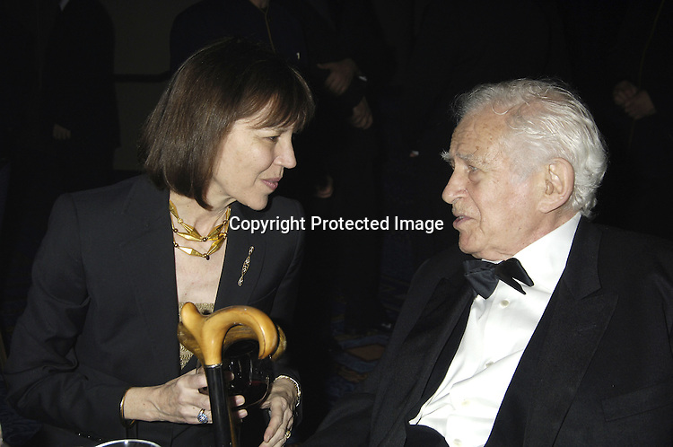 Judith Miller and  Norman Mailer..at The 2005 National Book Awards on November 16, 2005 at The Marriott Marquis Hotel. ..Photo by Robin Platzer, Twin Images