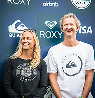 COOLANGATTA, Queensland/AUS (Sunday, March 19, 2017) Lisa Andersen (USA) and Mark Richards (AUS) - The Quiksilver and Roxy Pro Gold Coast was called ON today in three - to - four foot (1 m) surf at Snapper Rocks. The event got underway at 7:05 a.m. with the Men's Quarterfinals followed by the Women's Quarterfinals and ran through to the finals with Owen Wright (AUS) posting a victory with his first event back from injury and Stephanie Gilmore (AUS) adding another Roxy Pro title to her name. Wright defeated defending event champion Matt Wilkinson(AUS) in an all goofy-foot final while Lakey Peterson (USA) was runner up to Gilmore.   Photo: joliphotos.com