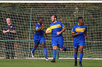 Nick Reynolds of Romfords score his teams second goal  and celebrates during Romford vs Coggeshall Town, Bostik League Division 1 North Football at Rookery Hill on 13th October 2018