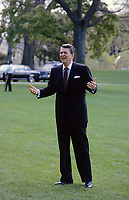 Washington DC., USA, June, 1985<br /> President Ronald Reagan walks back to the White House after arriving on the South Lawn in Marine One. Credit: Mark Reinstein/MediaPunch