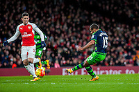 Wayne Routledge of Swansea City  scores during the Barclays Premier League match between Arsenal and Swansea City at the Emirates Stadium, London, UK, Wednesday 02 March 2016