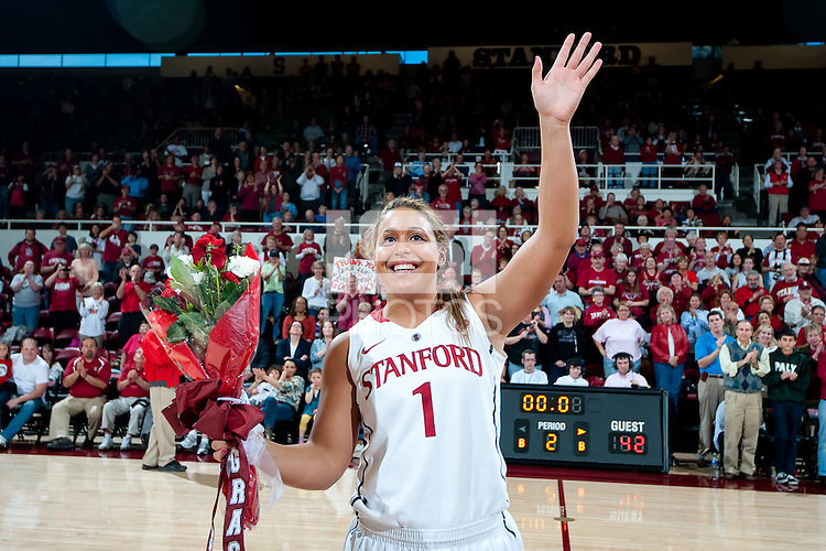 STANFORD, CA--Senior Grace Mashore celebrates senior day during PAC-12 conference play against Utah  at Maples Pavilion. The Cardinal won the matchup against the Utes 69-42.