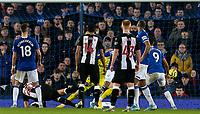 Newcastle United's Florian Lejeune (20) scores his side's first goal<br /> <br /> Photographer Alex Dodd/CameraSport<br /> <br /> The Premier League - Everton v Newcastle United  - Tuesday 21st January 2020 - Goodison Park - Liverpool<br /> <br /> World Copyright © 2020 CameraSport. All rights reserved. 43 Linden Ave. Countesthorpe. Leicester. England. LE8 5PG - Tel: +44 (0) 116 277 4147 - admin@camerasport.com - www.camerasport.com