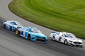 #2: Brad Keselowski, Team Penske, Ford Mustang Miller Lite, #19: Martin Truex Jr., Joe Gibbs Racing, Toyota Camry Auto Owners Insurance and #4: Kevin Harvick, Stewart-Haas Racing, Ford Mustang Busch Light