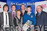 CERTIFICATE: A great night for Gerard Dowlin (St Michael College,Listowel) as he shows off his Lee Strand Garda Youth Award Merit Certificate to his family and Teacher Vice Principal of the college Liam Hassett (former Kerry Footballer), L-r: Maurice Dowling, Gerard Muhvihill, Padraig Dowling, Helen Dowling, Laim Hassett, Gerard and Maurice Dowling.....