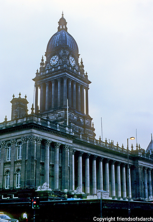 Leeds: Leeds Town Hall, 1868. Architect Cuthbert Brodrick. Symbol of Victorian civic pride.  Photo '90.
