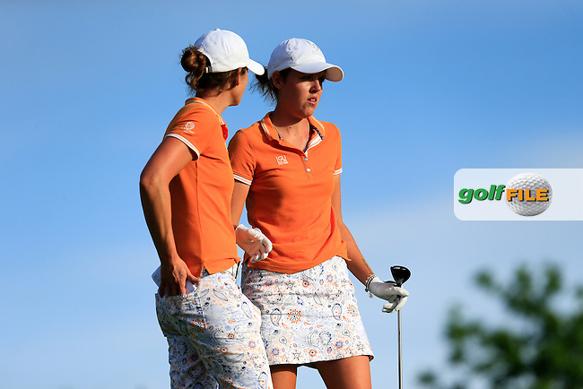 Maria Dunne and Meghan MacLaren on the 16th during the Saturday afternoon fourballs at the 2016 Curtis cup from Dun Laoghaire Golf Club, Ballyman Rd, Enniskerry, Co. Wicklow, Ireland. 11/06/2016.<br /> Picture Fran Caffrey / Golffile.ie<br /> <br /> All photo usage must carry mandatory copyright credit (&copy; Golffile | Fran Caffrey)