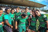 Manawatu players celebrate winning the Women's Cup Final between Manawatu and Waikato on day two of the 2018 Bayleys National Sevens at Rotorua International Stadium in Rotorua, New Zealand on Sunday, 14 January 2018. Photo: Dave Lintott / lintottphoto.co.nz