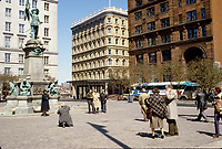 Montreal (Qc) CANADA - File photo circa 1986 -  Place d'armes in Old-Montreal