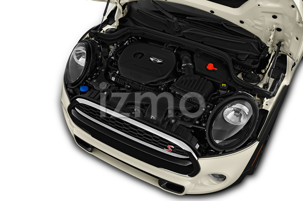 Car stock 2019 Mini Cooper S Signature 2 Door Convertible engine high angle detail view