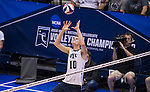 07 MAY: Jake Langlois (10) of Brigham Young University sets the ball against Ohio State University during the Division I Men's Volleyball Championship held at Rec Hall on the Penn State University campus in University Park, PA. Ohio State defeated BYU 3-1 for the national title. Ben Solomon/NCAA Photos