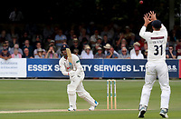 Rishi Patel of Essex watches the ball sail towards Will Fraine during Essex CCC vs Yorkshire CCC, Specsavers County Championship Division 1 Cricket at The Cloudfm County Ground on 8th July 2019