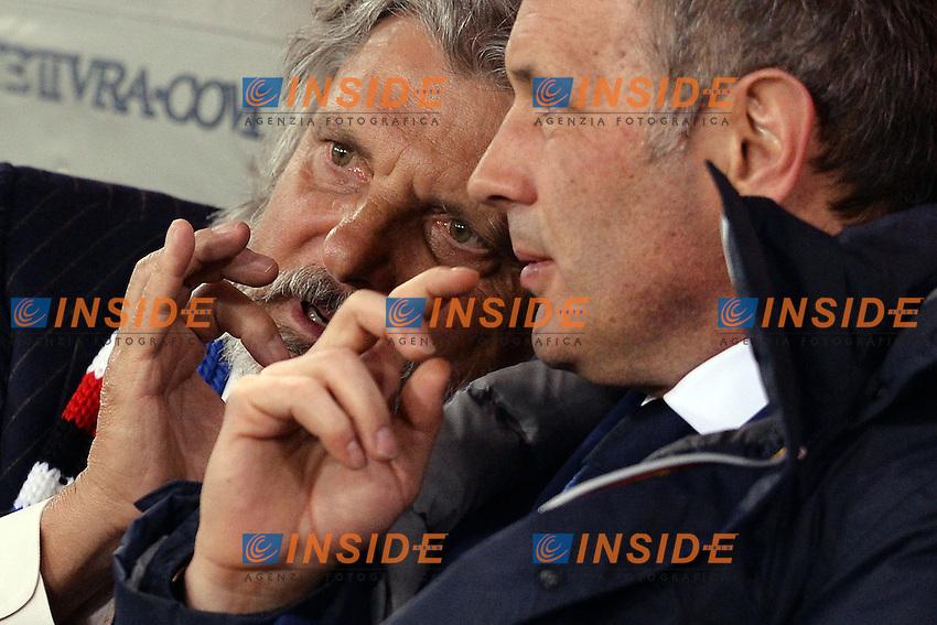 Massimo Ferrero presidente della Sampdoria, con Sinisa Mihajlovic.<br /> Roma 16-03-2015 Stadio Olimpico. Football Calcio 2014/2015 Serie A. AS Roma - Sampdoria. Foto Antonietta Baldassarre / Insidefoto