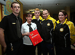 Stuart Maloney and Sophia Maloney, General Manager McDonalds, Drogheda, presenting Rory Kirwan, Eugene Burns and Aine Kirwin of the  Dunleer Athletics Club with the McDonald's Little Athletic Pack as part of a Nationwide Programme which is encouraging and providing the resources for children to become involved in grassroots athletics...Photo NEWSFILE/Jenny Matthews.(Photo credit should read Jenny Matthews/NEWSFILE)....This Picture has been sent you under the condtions enclosed by:.Newsfile Ltd..The Studio,.Millmount Abbey,.Drogheda,.Co Meath..Ireland..Tel: +353(0)41-9871240.Fax: +353(0)41-9871260.GSM: +353(0)86-2500958.email: pictures@newsfile.ie.www.newsfile.ie.FTP: 193.120.102.198.