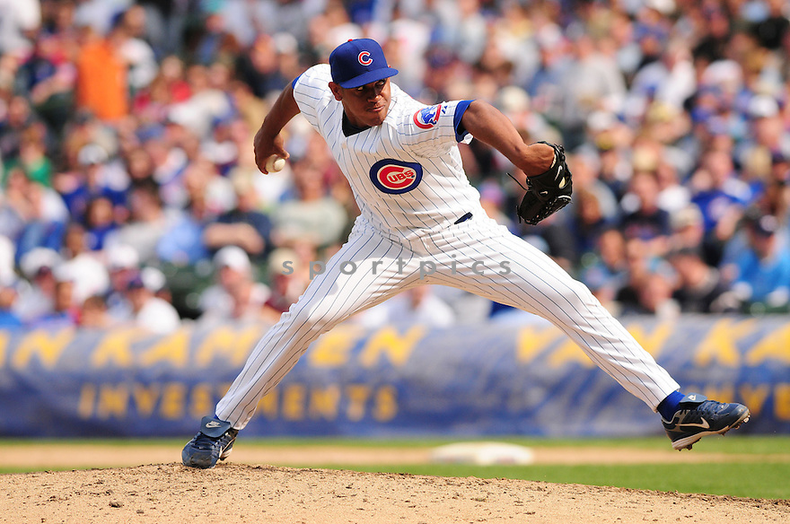CARLOS MARMOL, of the Chicago Cubs Cincinnati Reds , in action against the Pittsburgh Pirates  during the Cubs game in Chicago, IL on April 18, 2008. The Cubs won the game 3-2.