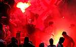 Fans of the Harrisburg City Islanders soccer team celebrate with road flares, beer, and shear adrenaline to enjoy the match against the New York Red Bulls at the fourth round Open Cup Tournament. JUSTIN A. SHAW/The Patriot-News