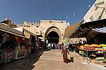 Israel, Jerusalem, Jerusalem, Damascus Gate as seen from inside the Old City<br />