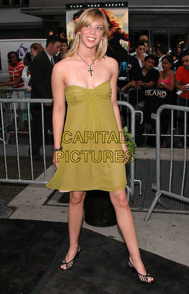 """NATALIE DISTLER.The premiere of his new film ,""""The Island"""" at the Ziegfeld Theater in Manhattan, New York, New York..July 11th, 2005.Photo Credit: Patti Ouderkirk/AdMedia.full length green dress strapless black shoes.www.capitalpictures.com.sales@capitalpictures.com.© Capital Pictures."""