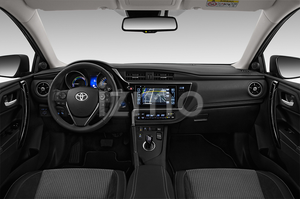 Stock photo of straight dashboard view of a 2018 Toyota Auris Touring Sports Lounge 5 Door Wagon