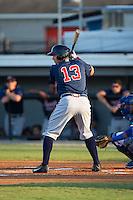 Austin Riley (13) of the Danville Braves at bat against the Burlington Royals at Burlington Athletic Park on August 13, 2015 in Burlington, North Carolina.  The Braves defeated the Royals 6-3. (Brian Westerholt/Four Seam Images)