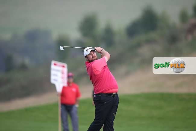 Shane Lowry (IRL) heads down the 16th all square with Joost Luiten (NED) on -12 during Round Three of the ISPS Handa Wales Open 2014 from the Celtic Manor Resort, Newport, South Wales. Picture:  David Lloyd / www.golffile.ie