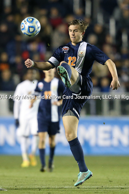12 December 2014: Virginia's Riggs Lennon. The University of Virginia Cavaliers played the University of Maryland Baltimore County Retrievers at WakeMed Stadium in Cary, North Carolina in a 2014 NCAA Division I Men's College Cup semifinal match. Virginia won the game 1-0.