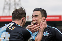 Paul Hayes of Wycombe Wanderers congratulates Luke O'Nien of Wycombe Wanderers on his winning goal during the Sky Bet League 2 match between Wycombe Wanderers and Bristol Rovers at Adams Park, High Wycombe, England on 27 February 2016. Photo by Andy Rowland.