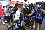 Mark Cavendish (GBR) Team Dimension Data chats to the media at sign on in Mondorf-les-Bains before the start of Stage 4 of the 104th edition of the Tour de France 2017, running 207.5km from Mondorf-les-Bains, Luxembourg to Vittel, France. 4th July 2017.<br /> Picture: Eoin Clarke | Cyclefile<br /> <br /> <br /> All photos usage must carry mandatory copyright credit (&copy; Cyclefile | Eoin Clarke)