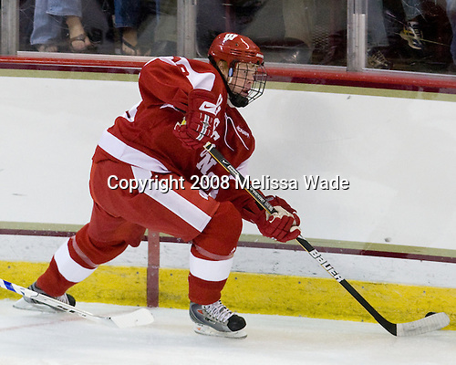 Jordy Murray (Wisconsin - 18) - The Boston College Eagles defeated the University of Wisconsin Badgers 5-4 on Friday, October 10, 2008 after raising their 2008 National Championship banner at Kelley Rink in Conte Forum in Chestnut Hill, Massachusetts.