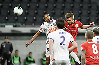 30th July 2020; Bankwest Stadium, Parramatta, New South Wales, Australia; A League Football, Adelaide United versus Perth Glory; Kristian Opseth of Adelaide United beats James Meredith of Perth Glory to the cross to score and make it 3-1 in the 38th minute