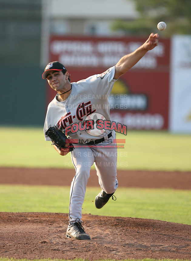 2007:  Anthony Bello of the Tri-City Valley Cats, Class-A affiliate of the Houston Astros, during the New York-Penn League baseball season.  Photo by Mike Janes/Four Seam Images