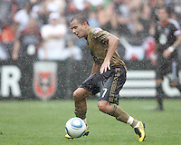 Fred #7 of the Philadelphia Union in the rain during an MLS match against D.C. United at RFK Stadium on August 22 2010, in Washington DC. United won 2-0.