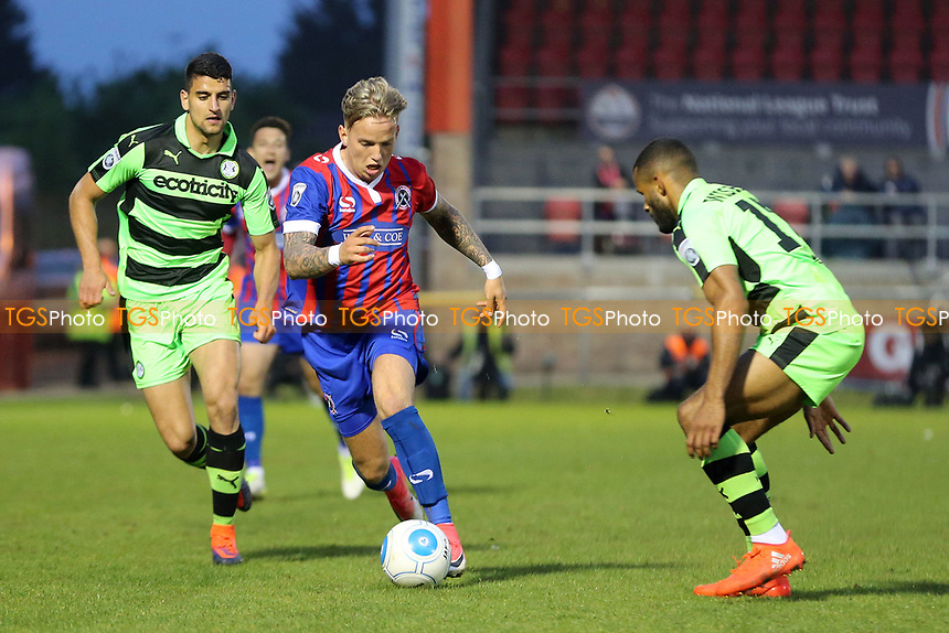 Jordan Maguire-Drew of Dagenham and Redbridge and Daniel Wishart of Forest Green Rovers during Dagenham & Redbridge vs Forest Green Rovers, Vanarama National League Play-Off Semi-Final Football at the Chigwell Construction Stadium on 4th May 2017