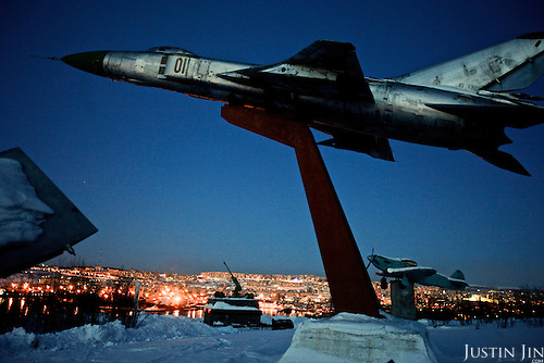 A WWII monument stands above Murmansk, the world's largest Arctic city and a vital industrial and shipping hub. The city became an important military base during the Cold War with Finland and Norway just across the border.