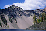 Steep volcanic walls of the crater at Crater Lake National Park, Oregon