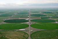 San Luis Valley with light drizzle, circle fields near Center, Colorado. July 2014. 86065