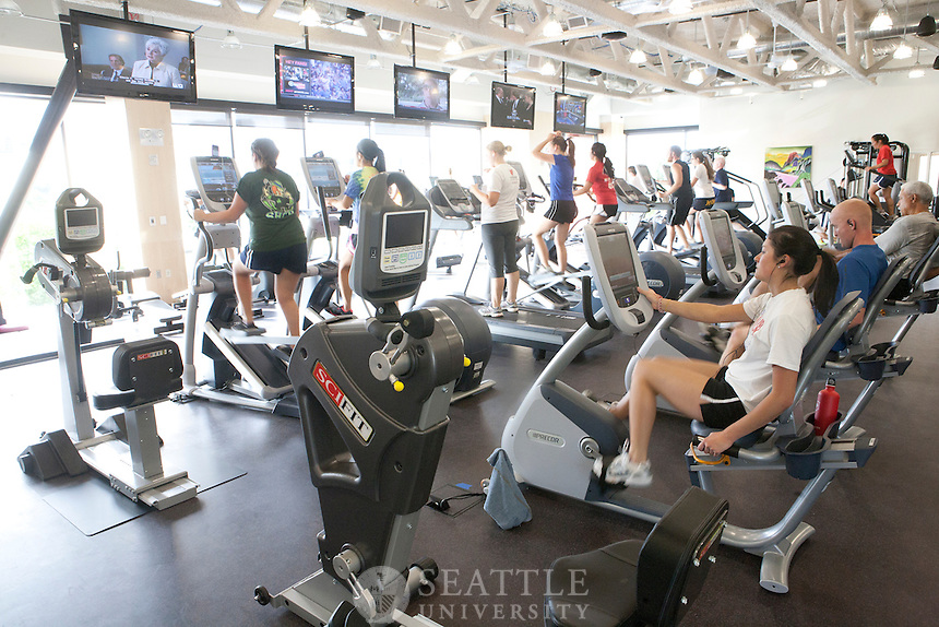 09202011 - Seattle University Magazine, Fitness Center, William Eisiminger Fitness Center, interior, 2nd floor, cardio machines